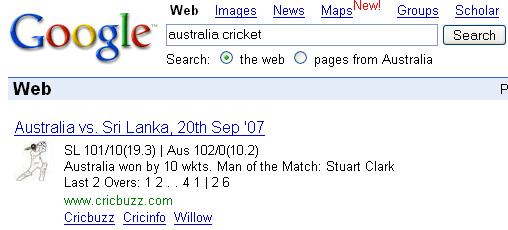 Australia Cricket Results