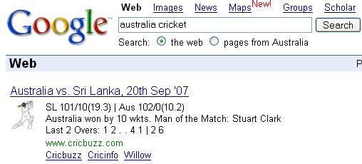 Australia Cricket Results